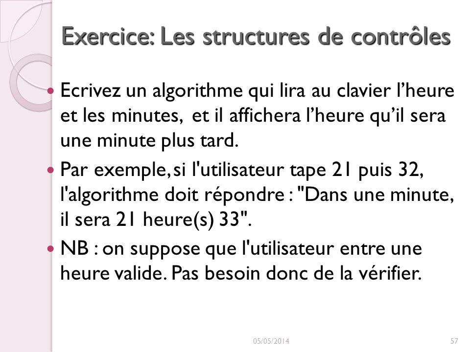 Exercice: Les structures de contrôles