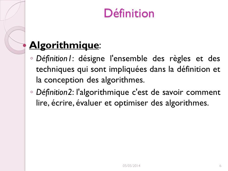 Définition Algorithmique: