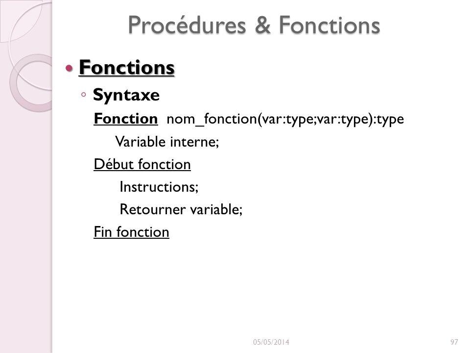 Procédures & Fonctions