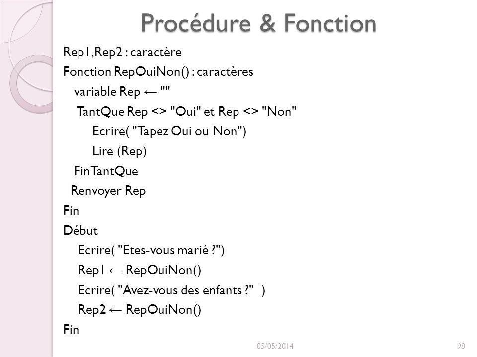 Procédure & Fonction