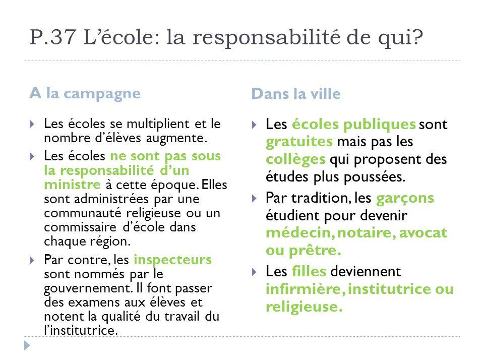 P.37 L'école: la responsabilité de qui
