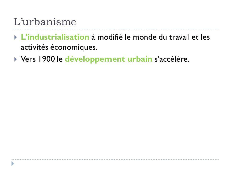 L'urbanisme L'industrialisation à modifié le monde du travail et les activités économiques.