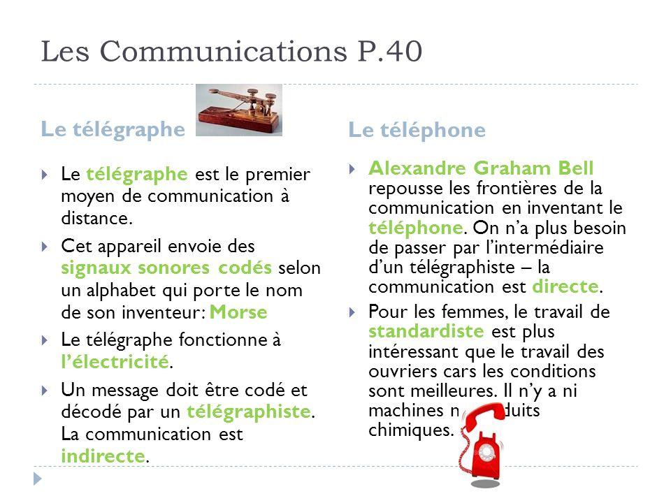 Les Communications P.40 Le télégraphe Le téléphone