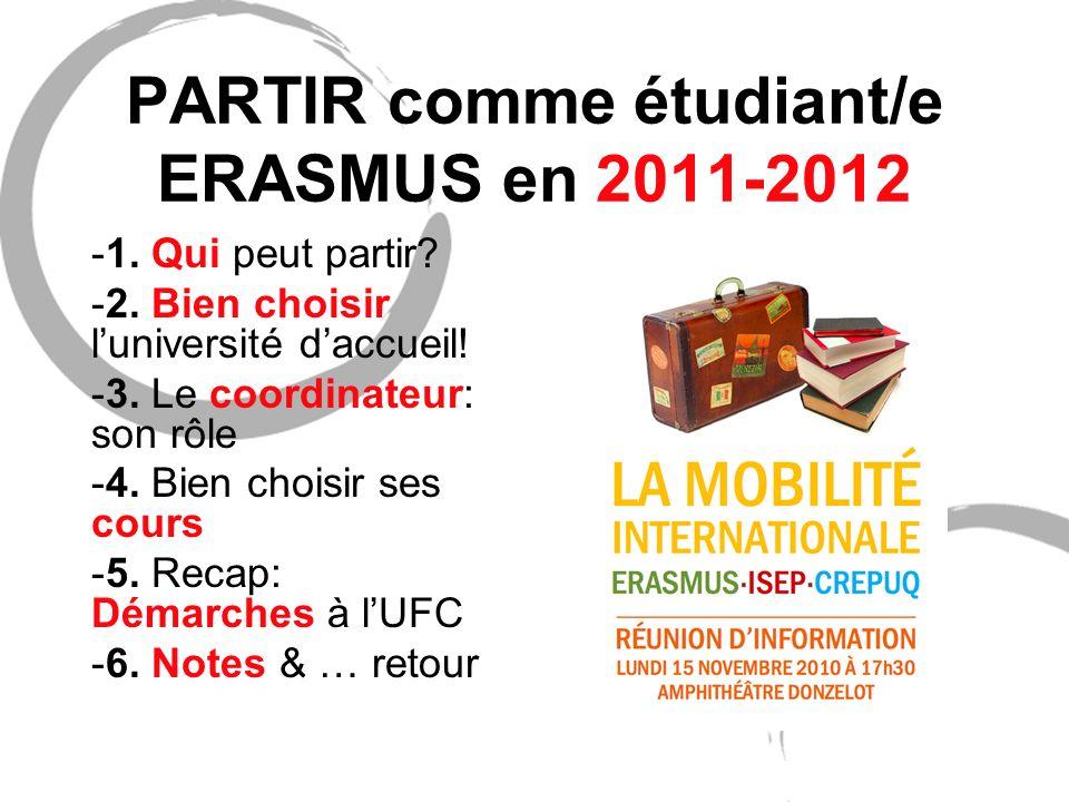 PARTIR comme étudiant/e ERASMUS en 2011-2012
