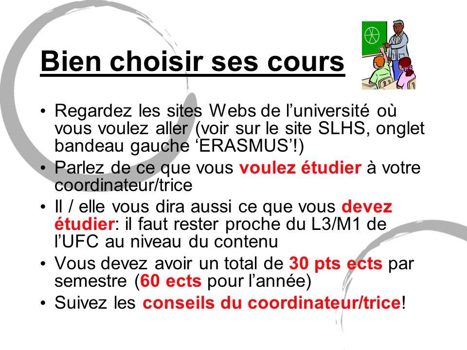 Bien choisir ses cours Regardez les sites Webs de l'université où vous voulez aller (voir sur le site SLHS, onglet bandeau gauche 'ERASMUS'!)