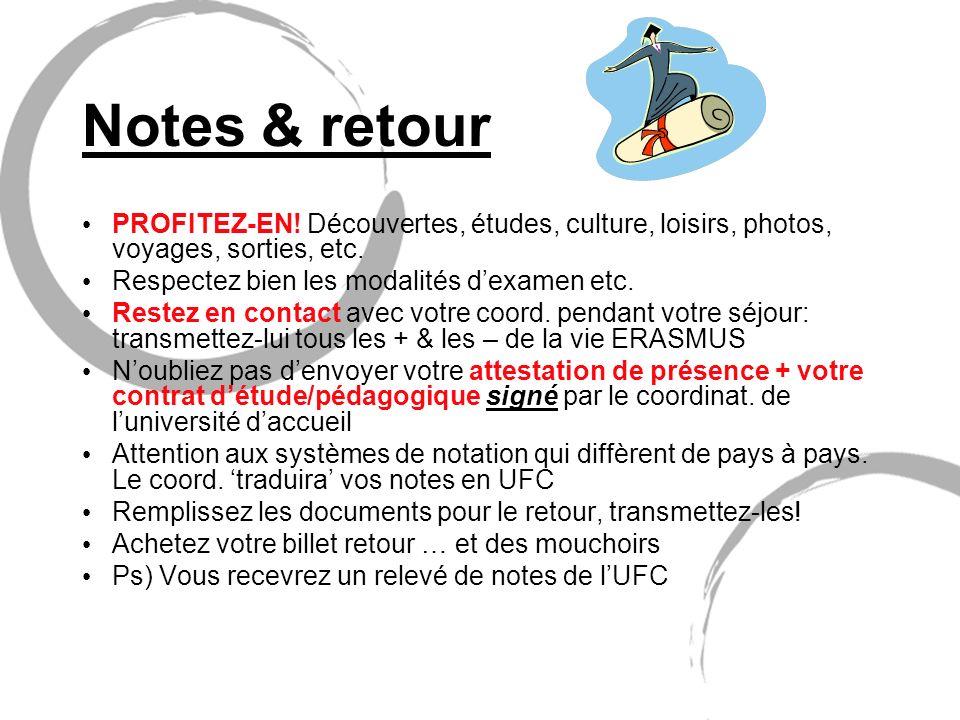 Notes & retour PROFITEZ-EN! Découvertes, études, culture, loisirs, photos, voyages, sorties, etc. Respectez bien les modalités d'examen etc.
