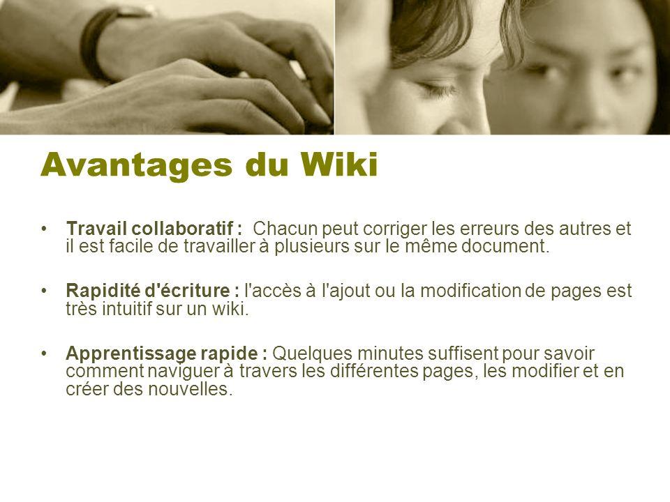 Avantages du Wiki