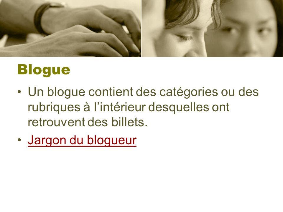 Blogue Un blogue contient des catégories ou des rubriques à l'intérieur desquelles ont retrouvent des billets.