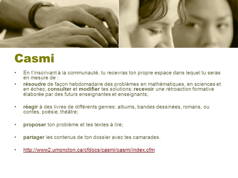 Casmi En t'inscrivant à la communauté, tu recevras ton propre espace dans lequel tu seras en mesure de :