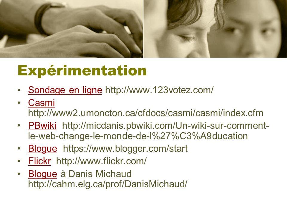Expérimentation Sondage en ligne http://www.123votez.com/