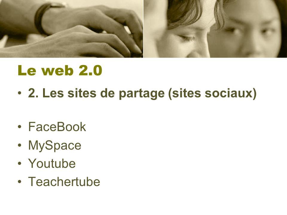 Le web 2.0 2. Les sites de partage (sites sociaux) FaceBook MySpace