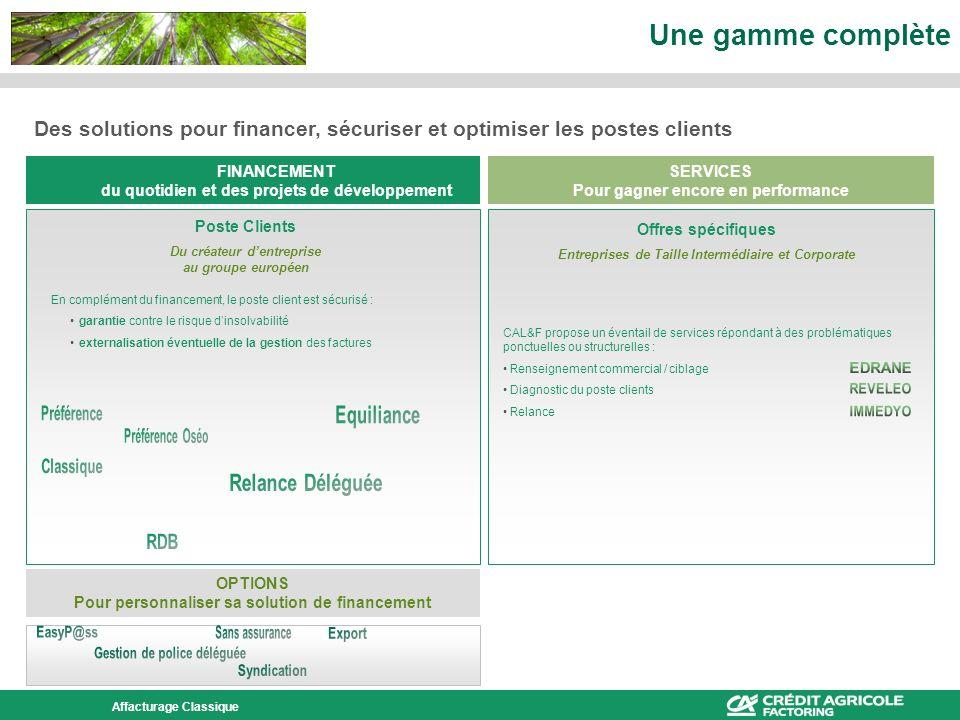 Une gamme complète Des solutions pour financer, sécuriser et optimiser les postes clients. FINANCEMENT.
