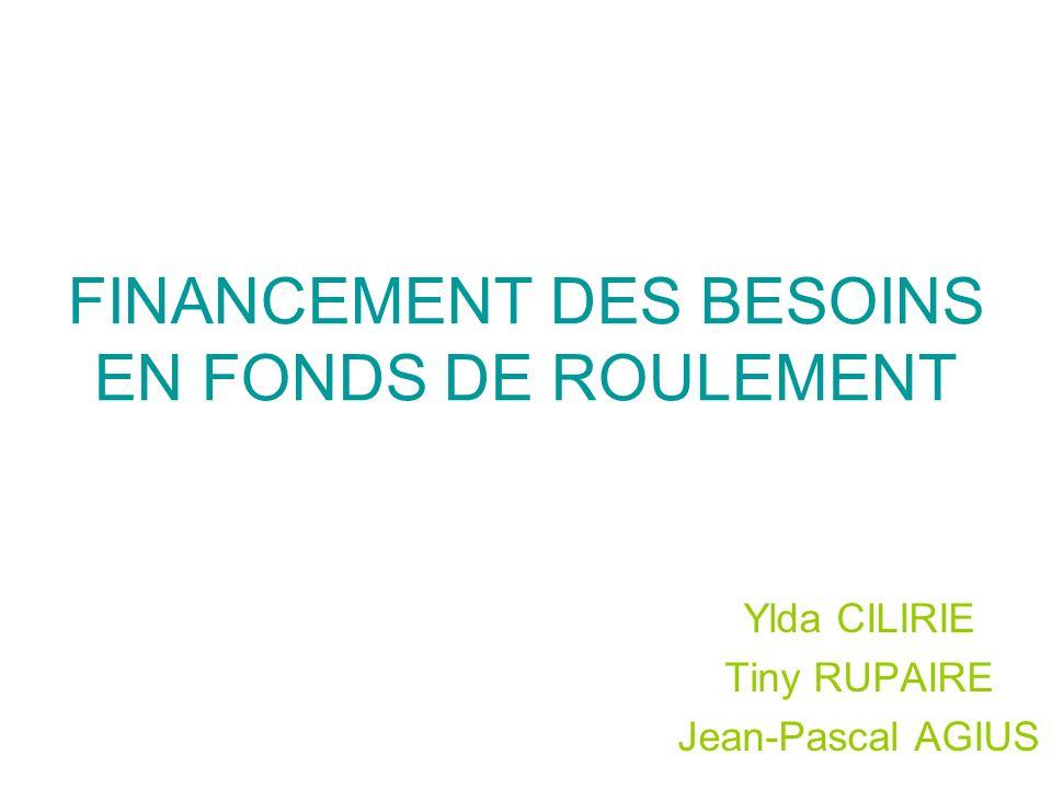 FINANCEMENT DES BESOINS EN FONDS DE ROULEMENT
