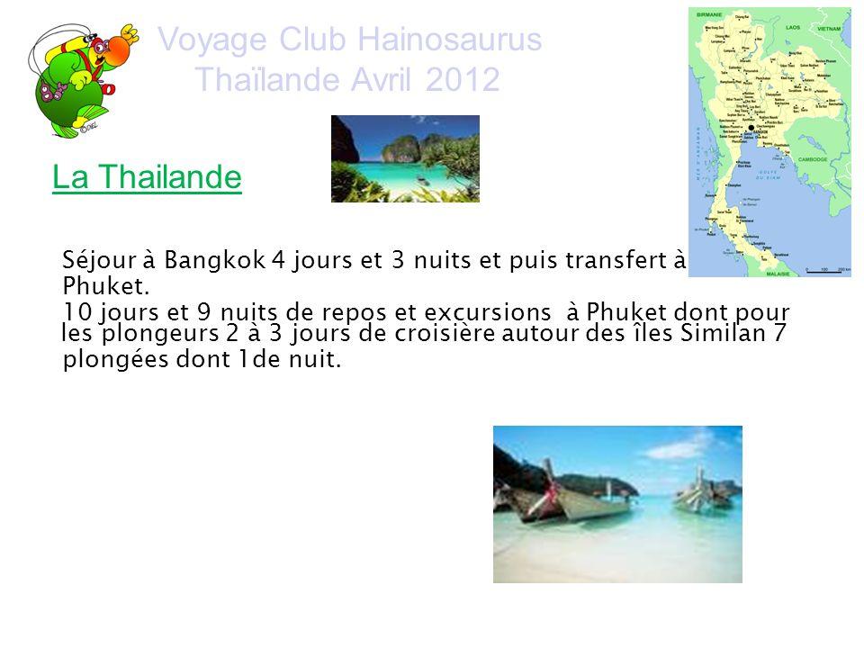 Voyage Club Hainosaurus Thaïlande Avril 2012