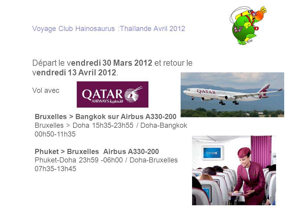 Départ le vendredi 30 Mars 2012 et retour le vendredi 13 Avril 2012.