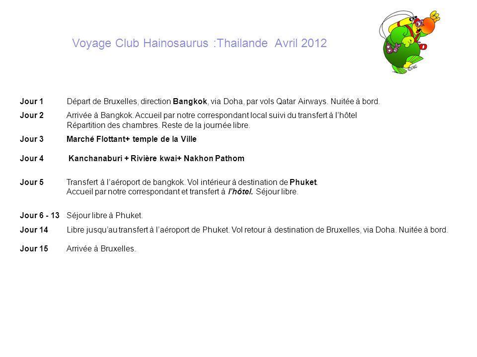 Voyage Club Hainosaurus :Thailande Avril 2012