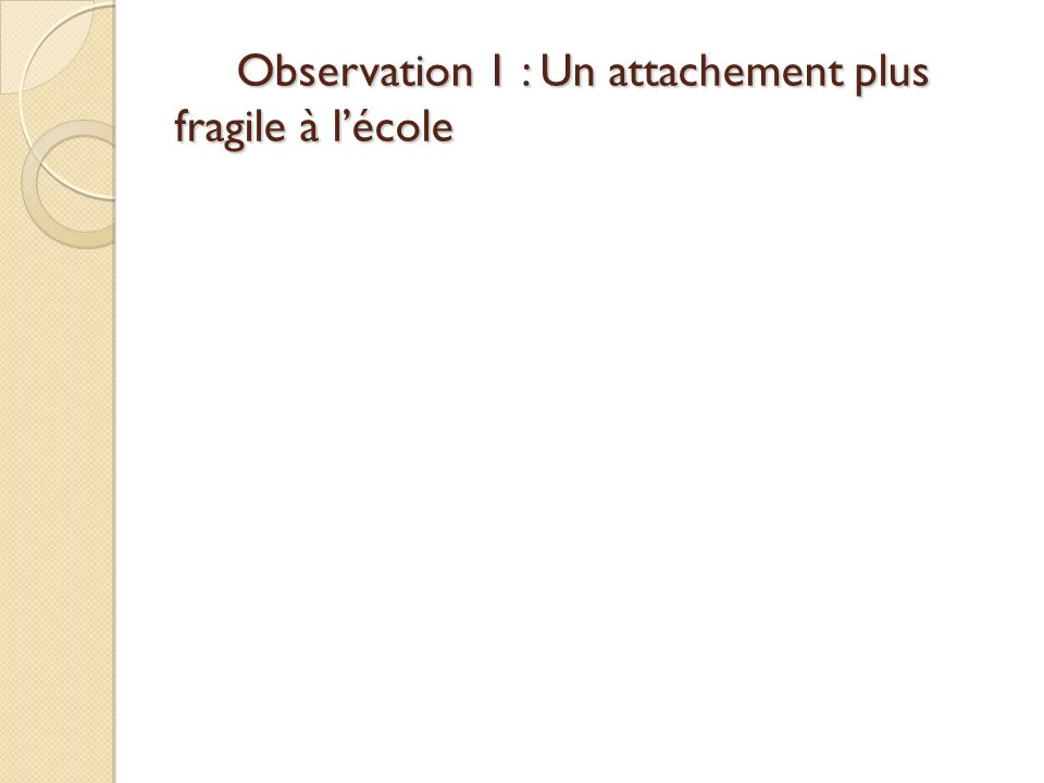 Observation 1 : Un attachement plus fragile à l'école