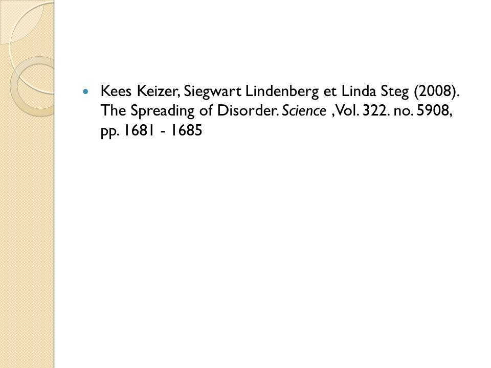 Kees Keizer, Siegwart Lindenberg et Linda Steg (2008)