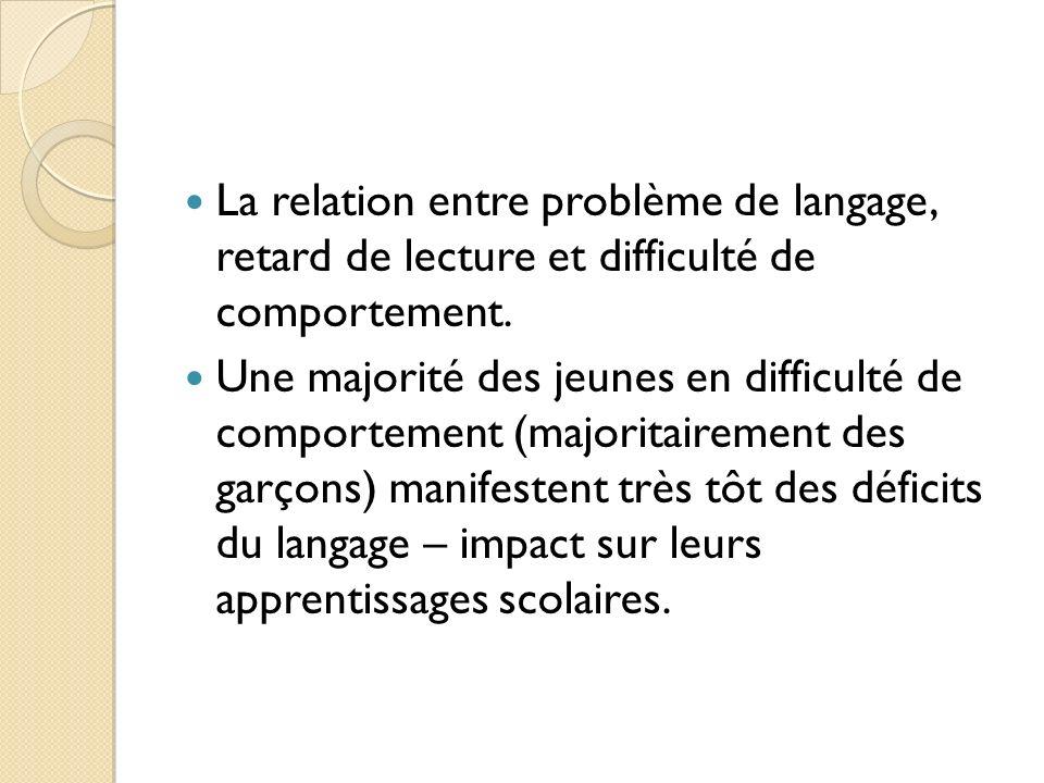 La relation entre problème de langage, retard de lecture et difficulté de comportement.