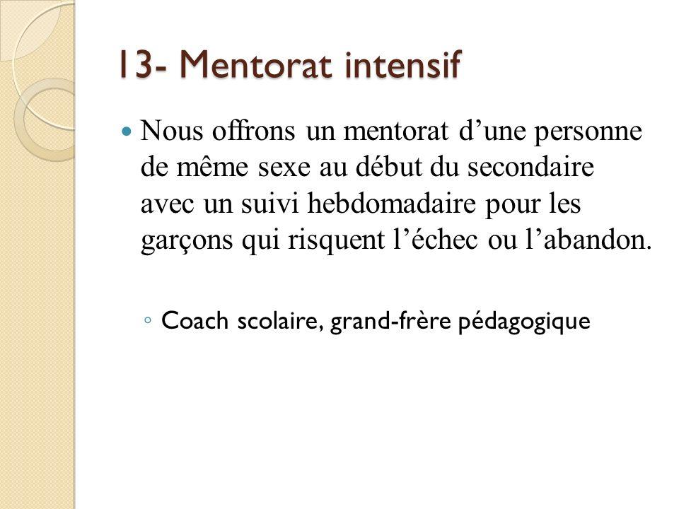 13- Mentorat intensif