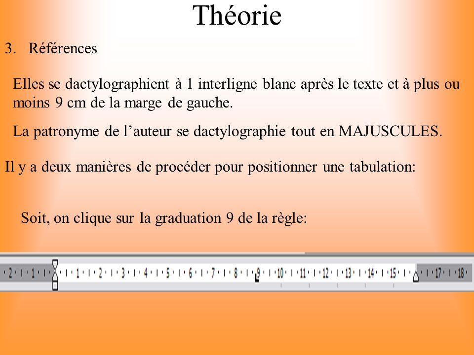 Théorie Références. Elles se dactylographient à 1 interligne blanc après le texte et à plus ou moins 9 cm de la marge de gauche.