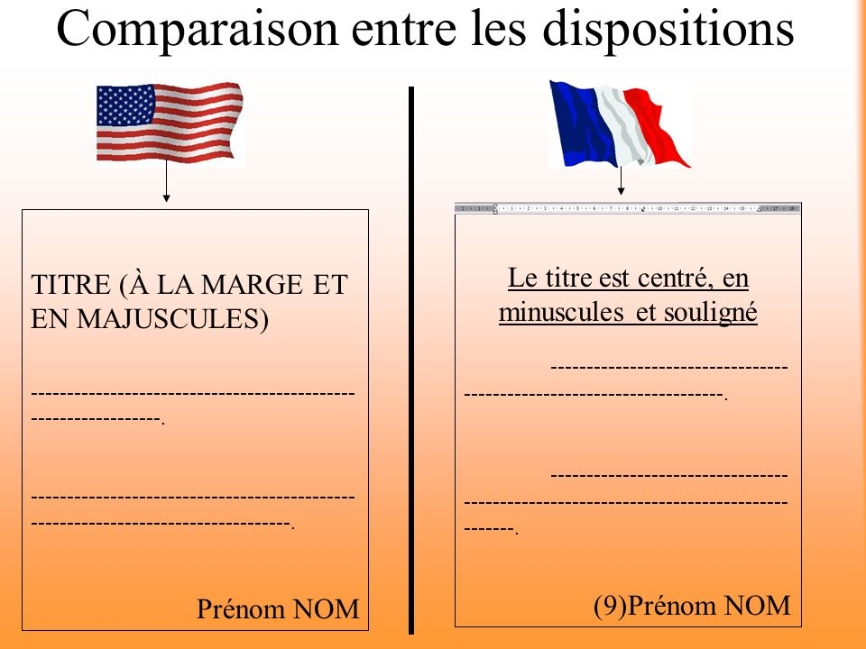 Comparaison entre les dispositions