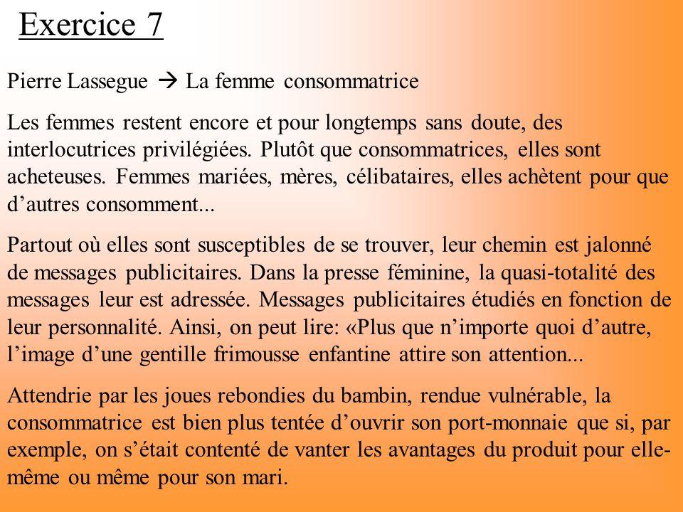 Exercice 7 Pierre Lassegue  La femme consommatrice