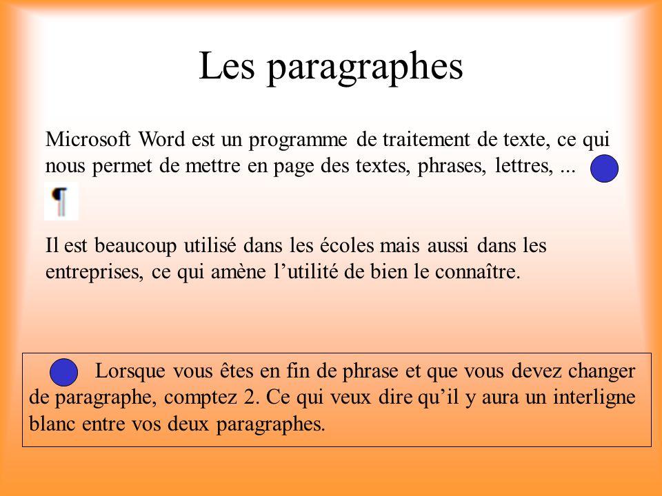 Les paragraphes Microsoft Word est un programme de traitement de texte, ce qui nous permet de mettre en page des textes, phrases, lettres, ...