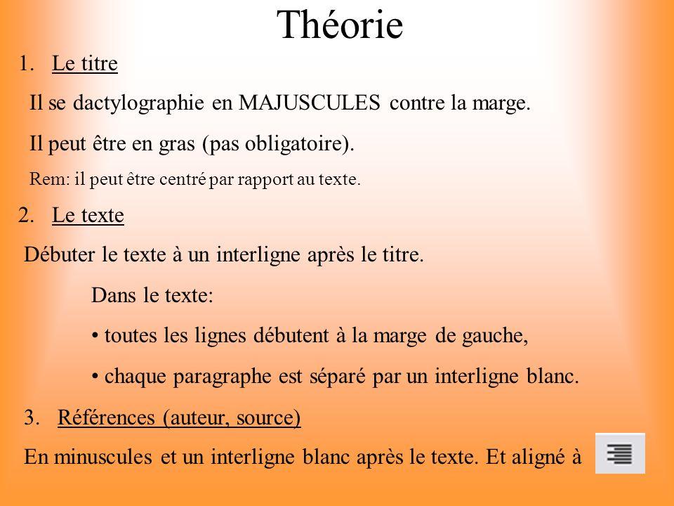 Théorie Le titre Il se dactylographie en MAJUSCULES contre la marge.