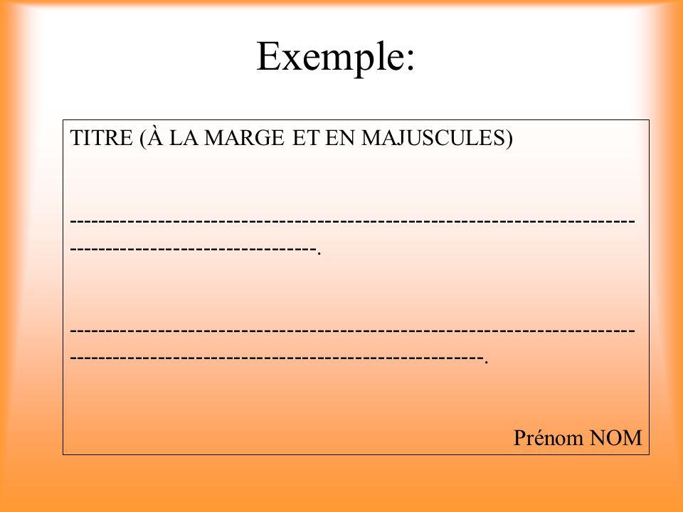 Exemple: TITRE (À LA MARGE ET EN MAJUSCULES)
