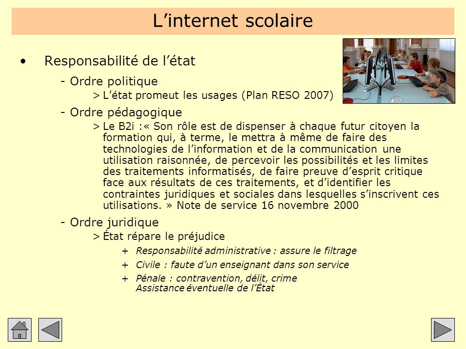 L'internet scolaire Responsabilité de l'état Ordre politique
