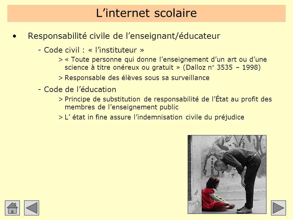 L'internet scolaire Responsabilité civile de l'enseignant/éducateur