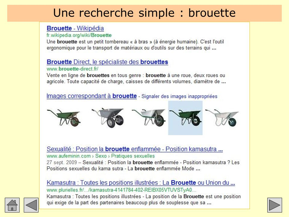 Une recherche simple : brouette
