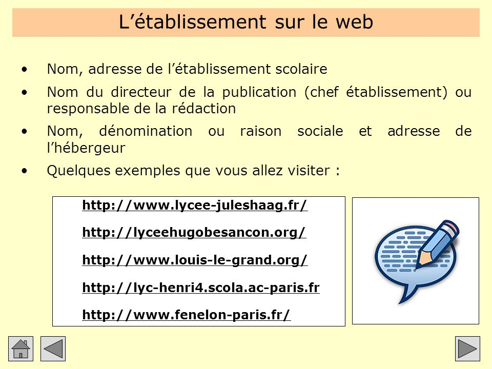 L'établissement sur le web