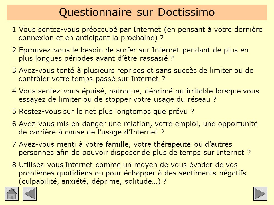 Questionnaire sur Doctissimo