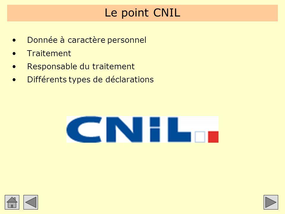 Le point CNIL Donnée à caractère personnel Traitement