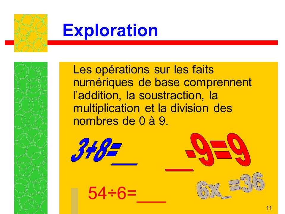 Exploration 54÷6=___ __-9=9 3+8=___ 6x_=36