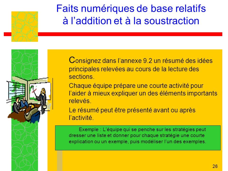 Faits numériques de base relatifs à l'addition et à la soustraction