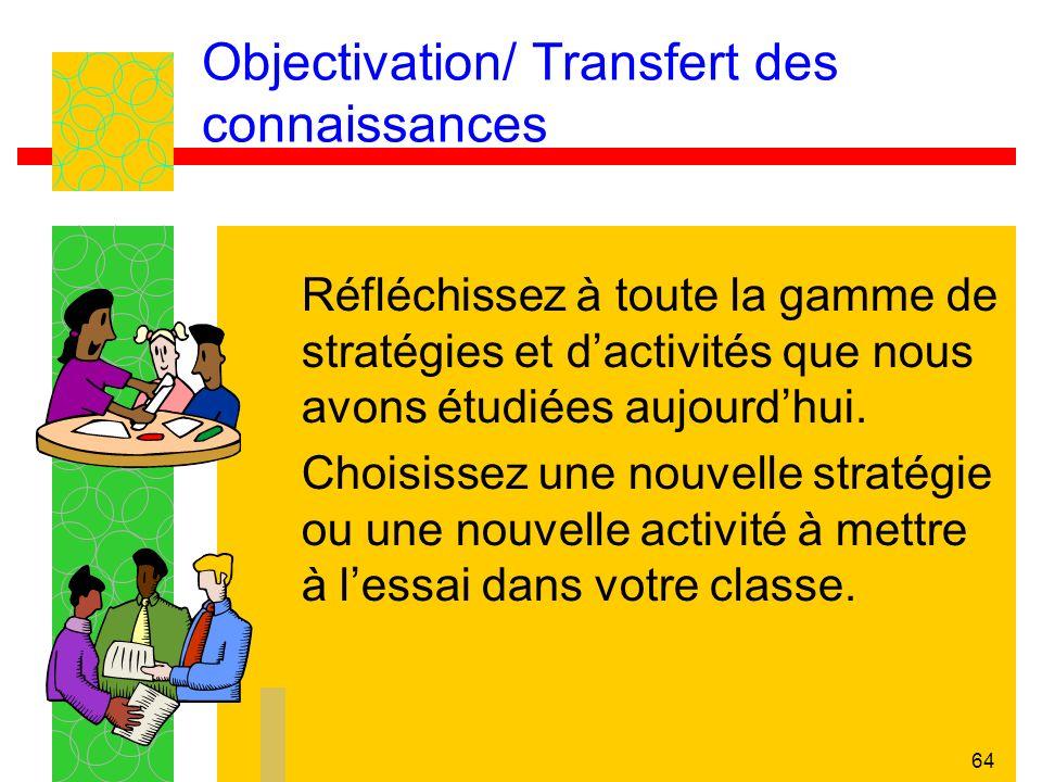 Objectivation/ Transfert des connaissances