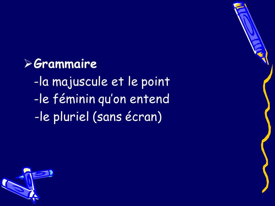 Grammaire -la majuscule et le point -le féminin qu'on entend -le pluriel (sans écran)
