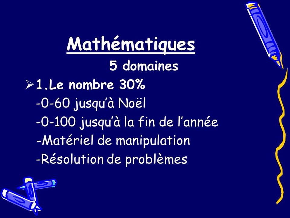 Mathématiques 5 domaines 1.Le nombre 30% -0-60 jusqu'à Noël