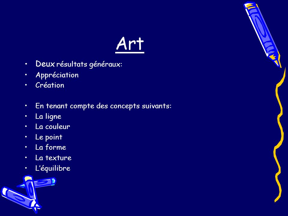Art Deux résultats généraux: Appréciation Création