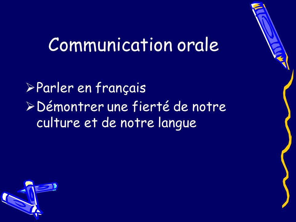 Communication orale Parler en français