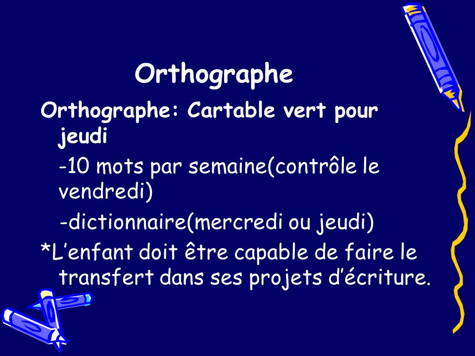 Orthographe Orthographe: Cartable vert pour jeudi