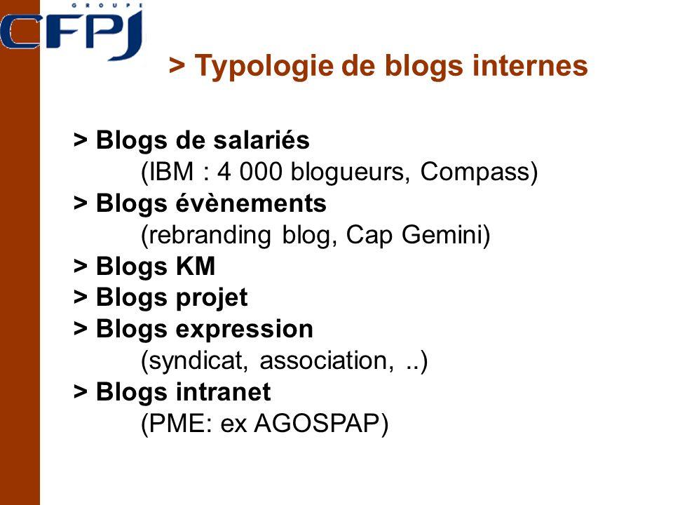> Typologie de blogs internes