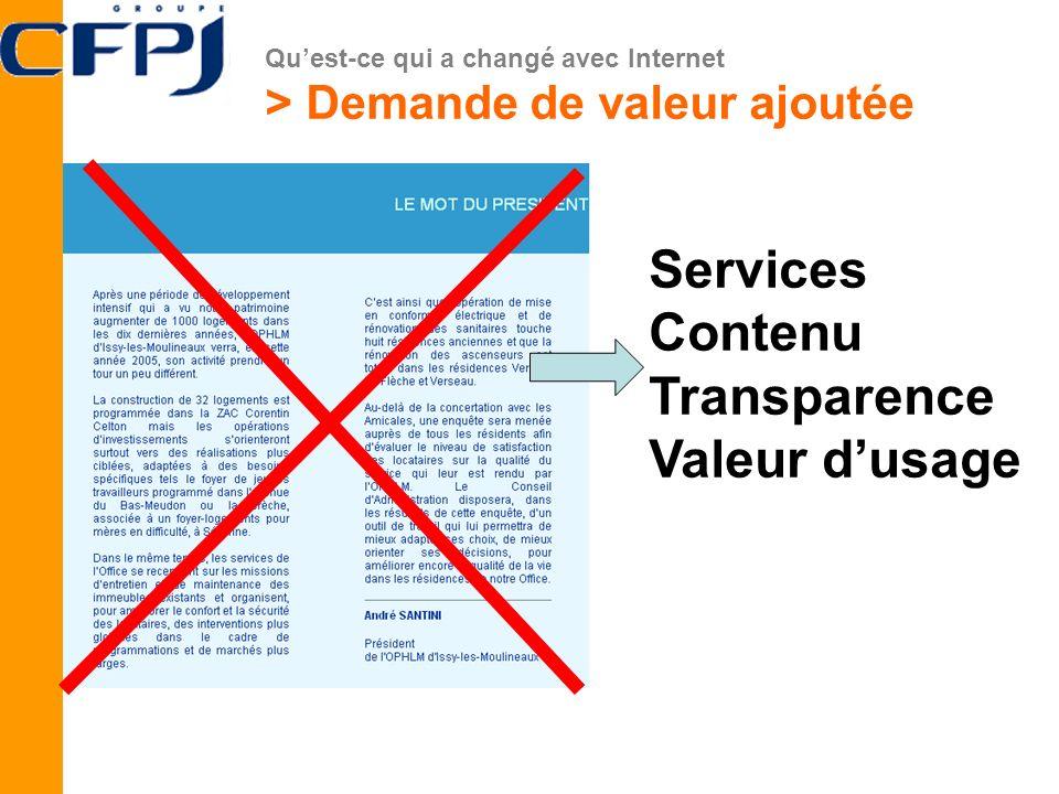 Services Contenu Transparence Valeur d'usage
