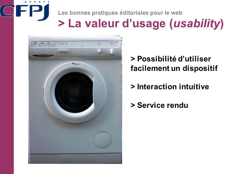 > La valeur d'usage (usability)