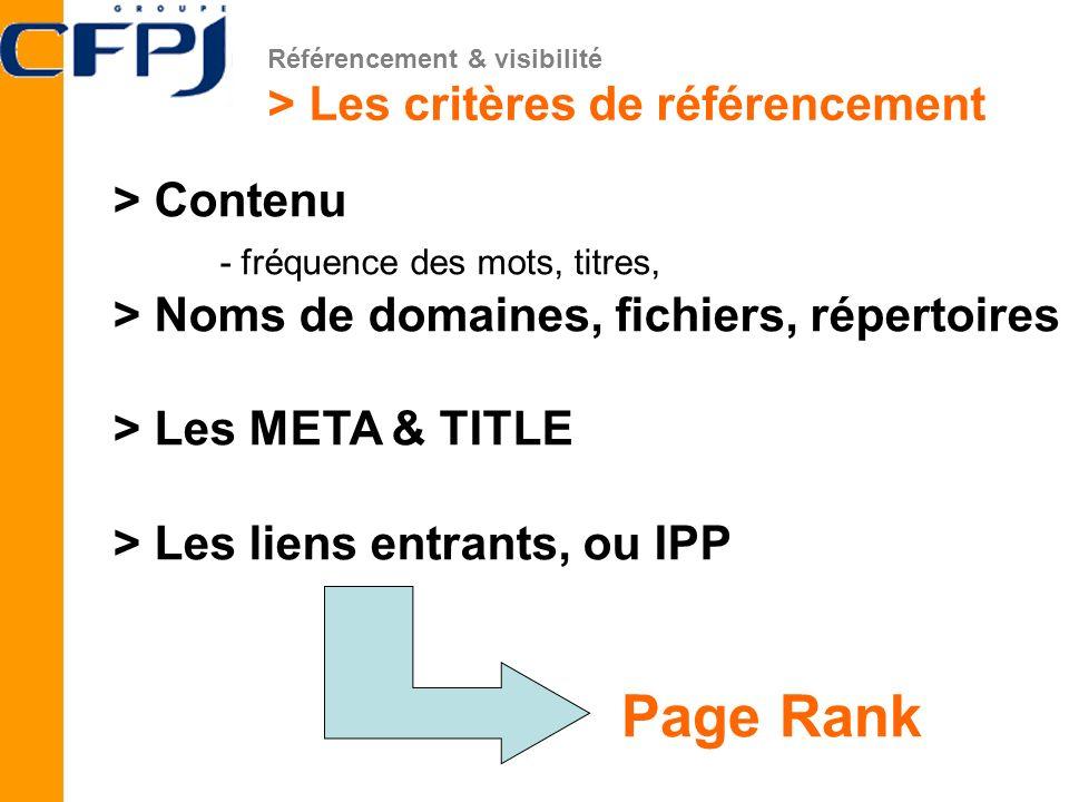 Page Rank > Les critères de référencement > Contenu