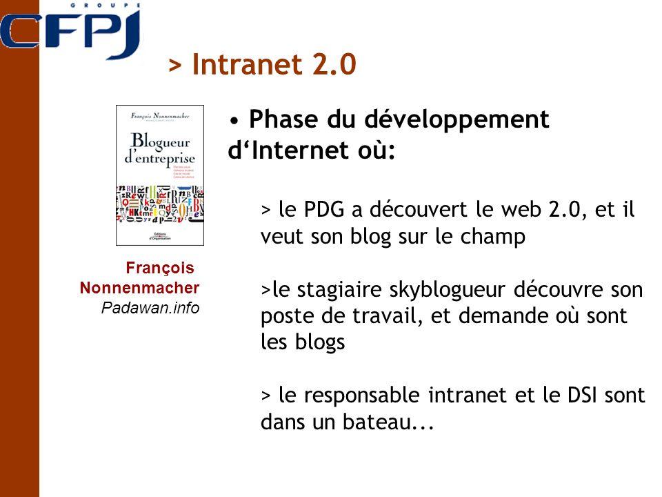> Intranet 2.0 Phase du développement d'Internet où:
