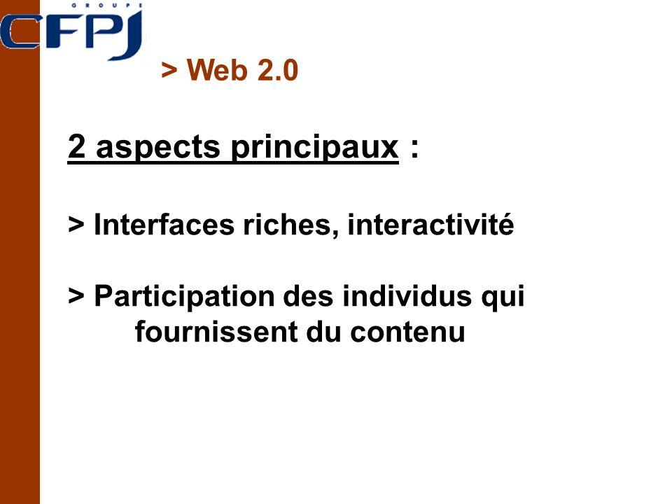 2 aspects principaux : > Web 2.0